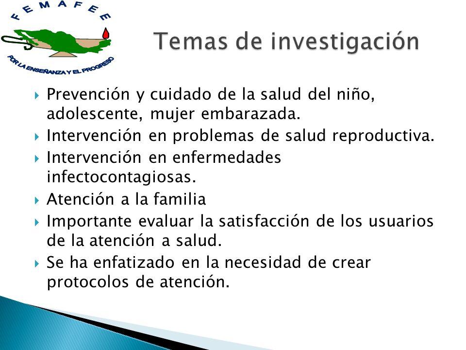 Prevención y cuidado de la salud del niño, adolescente, mujer embarazada. Intervención en problemas de salud reproductiva. Intervención en enfermedade
