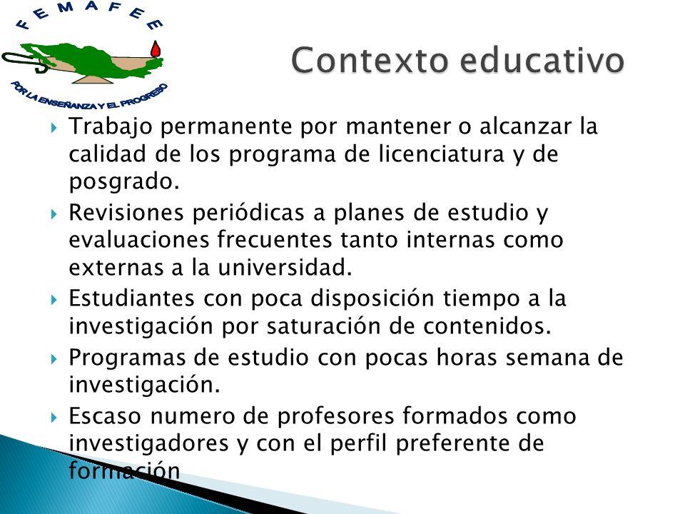 Trabajo permanente por mantener o alcanzar la calidad de los programa de licenciatura y de posgrado. Revisiones periódicas a planes de estudio y evalu