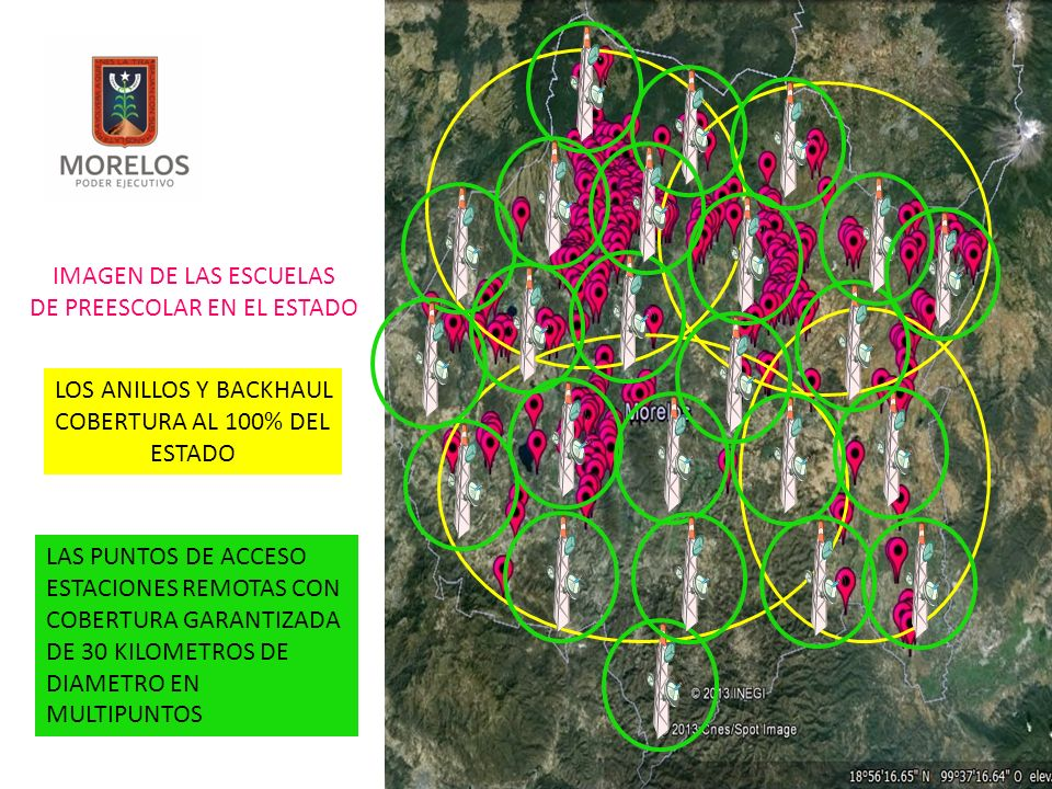 IMAGEN DE LAS ESCUELAS DE PREESCOLAR EN EL ESTADO LOS ANILLOS Y BACKHAUL COBERTURA AL 100% DEL ESTADO LAS PUNTOS DE ACCESO ESTACIONES REMOTAS CON COBERTURA GARANTIZADA DE 30 KILOMETROS DE DIAMETRO EN MULTIPUNTOS