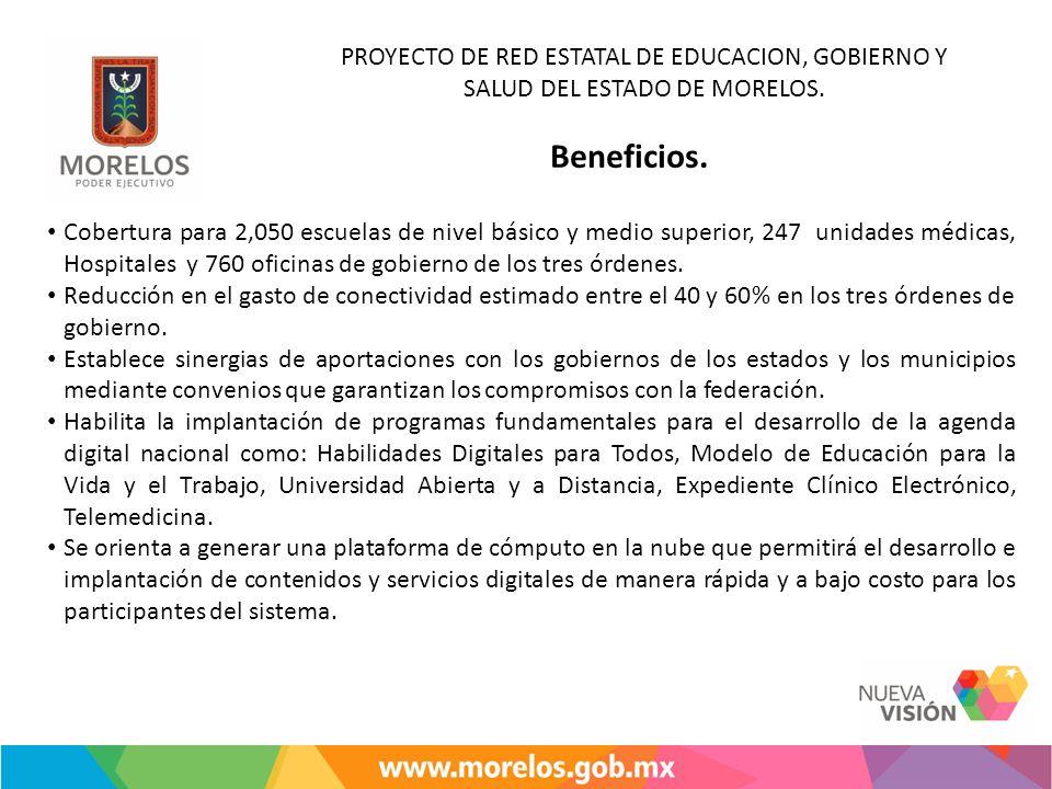 PROYECTO DE RED ESTATAL DE EDUCACION, GOBIERNO Y SALUD DEL ESTADO DE MORELOS. Beneficios. Cobertura para 2,050 escuelas de nivel básico y medio superi