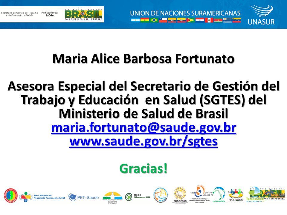 Maria Alice Barbosa Fortunato Asesora Especial del Secretario de Gestión del Trabajo y Educación en Salud (SGTES) del Ministerio de Salud de Brasil maria.fortunato@saude.gov.br www.saude.gov.br/sgtes Gracias!