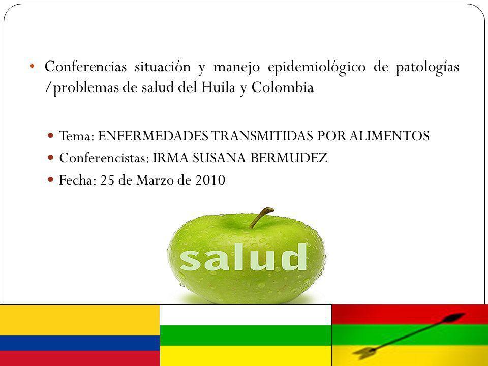 Conferencias situación y manejo epidemiológico de patologías /problemas de salud del Huila y Colombia Tema: ENFERMEDADES TRANSMITIDAS POR ALIMENTOS Co