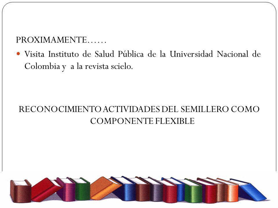 PROXIMAMENTE…… Visita Instituto de Salud Pública de la Universidad Nacional de Colombia y a la revista scielo. RECONOCIMIENTO ACTIVIDADES DEL SEMILLER