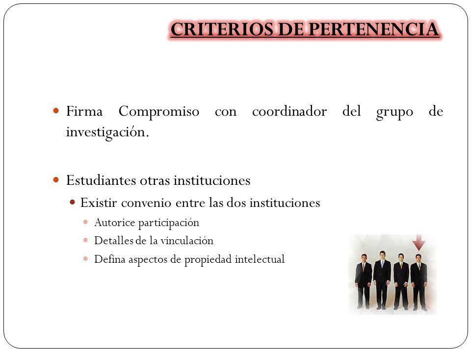Firma Compromiso con coordinador del grupo de investigación. Estudiantes otras instituciones Existir convenio entre las dos instituciones Autorice par