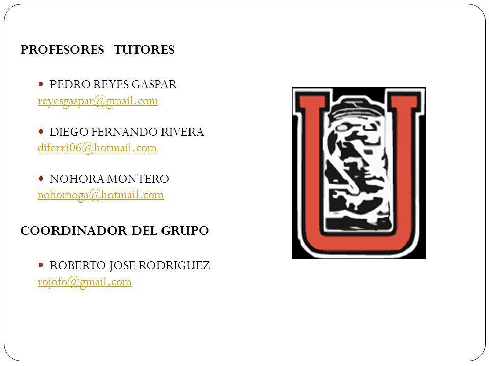 PROFESORES TUTORES PEDRO REYES GASPAR reyesgaspar@gmail.com DIEGO FERNANDO RIVERA diferri06@hotmail.com NOHORA MONTERO nohomoga@hotmail.com COORDINADO