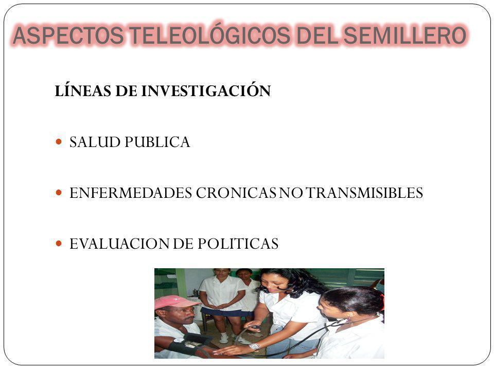 LÍNEAS DE INVESTIGACIÓN SALUD PUBLICA ENFERMEDADES CRONICAS NO TRANSMISIBLES EVALUACION DE POLITICAS