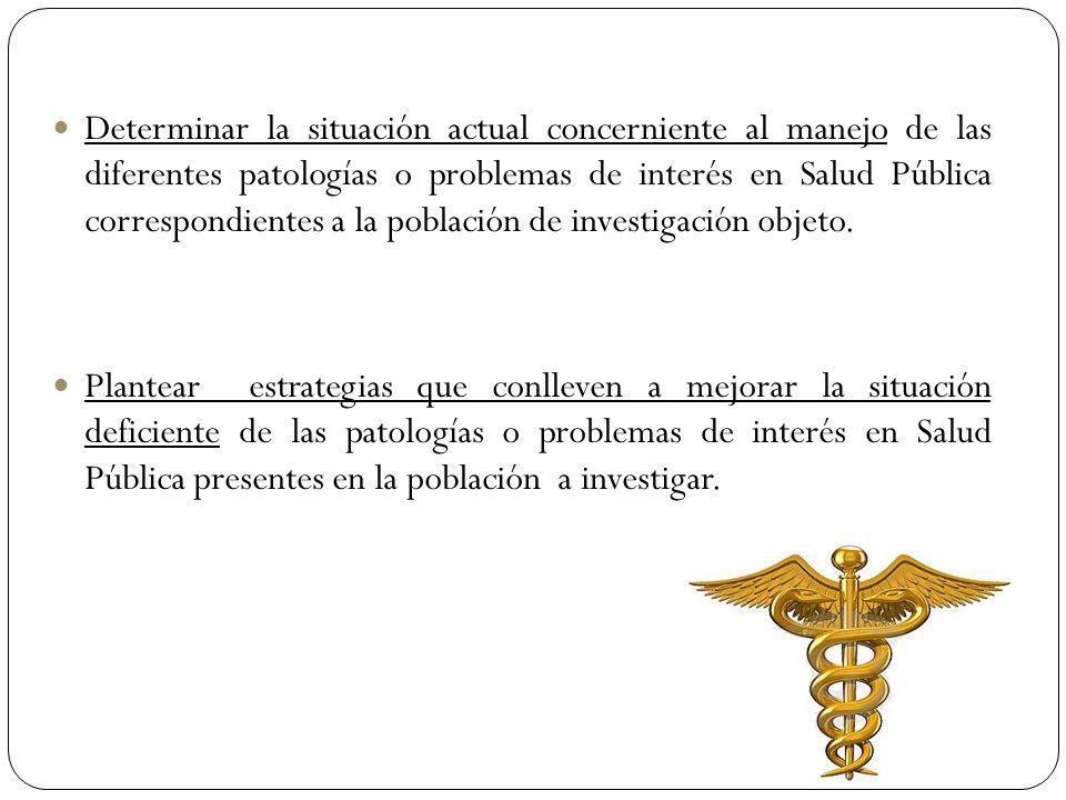 Determinar la situación actual concerniente al manejo de las diferentes patologías o problemas de interés en Salud Pública correspondientes a la pobla