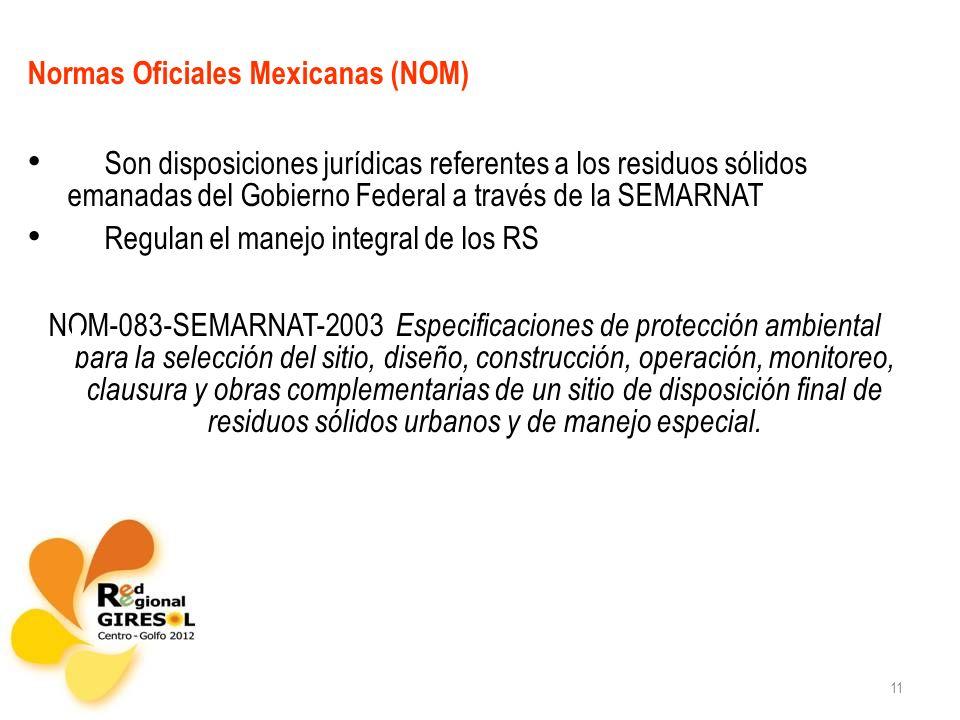 11 Normas Oficiales Mexicanas (NOM) Son disposiciones jurídicas referentes a los residuos sólidos emanadas del Gobierno Federal a través de la SEMARNA