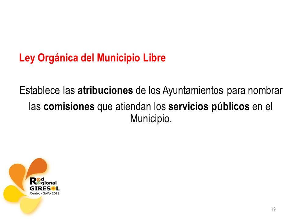 19 Ley Orgánica del Municipio Libre Establece las atribuciones de los Ayuntamientos para nombrar las comisiones que atiendan los servicios públicos en el Municipio.