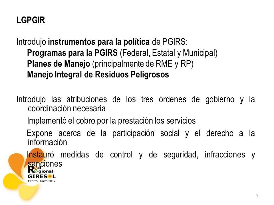 9 LGPGIR Introdujo instrumentos para la política de PGIRS: Programas para la PGIRS (Federal, Estatal y Municipal) Planes de Manejo (principalmente de