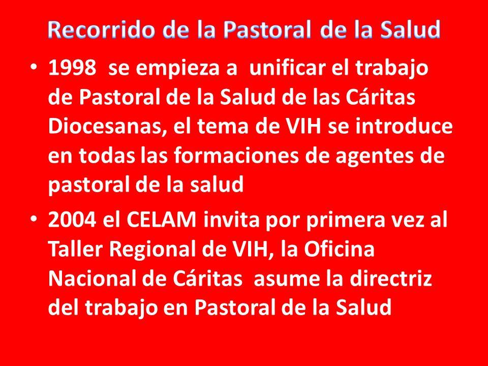 1998 se empieza a unificar el trabajo de Pastoral de la Salud de las Cáritas Diocesanas, el tema de VIH se introduce en todas las formaciones de agentes de pastoral de la salud 2004 el CELAM invita por primera vez al Taller Regional de VIH, la Oficina Nacional de Cáritas asume la directriz del trabajo en Pastoral de la Salud
