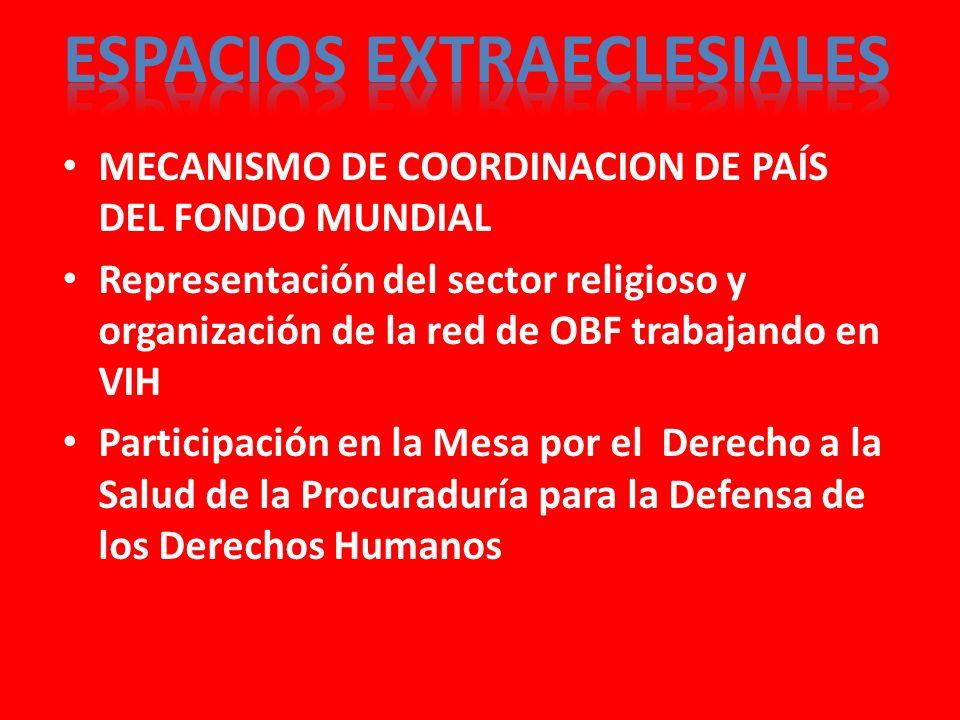 MECANISMO DE COORDINACION DE PAÍS DEL FONDO MUNDIAL Representación del sector religioso y organización de la red de OBF trabajando en VIH Participación en la Mesa por el Derecho a la Salud de la Procuraduría para la Defensa de los Derechos Humanos