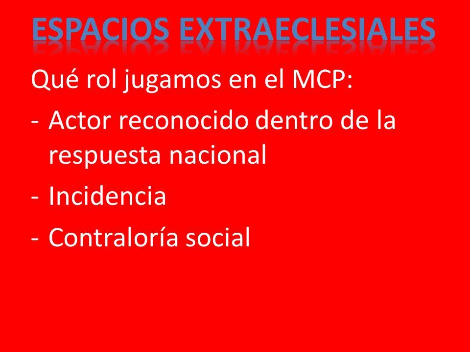 Qué rol jugamos en el MCP: -Actor reconocido dentro de la respuesta nacional -Incidencia -Contraloría social