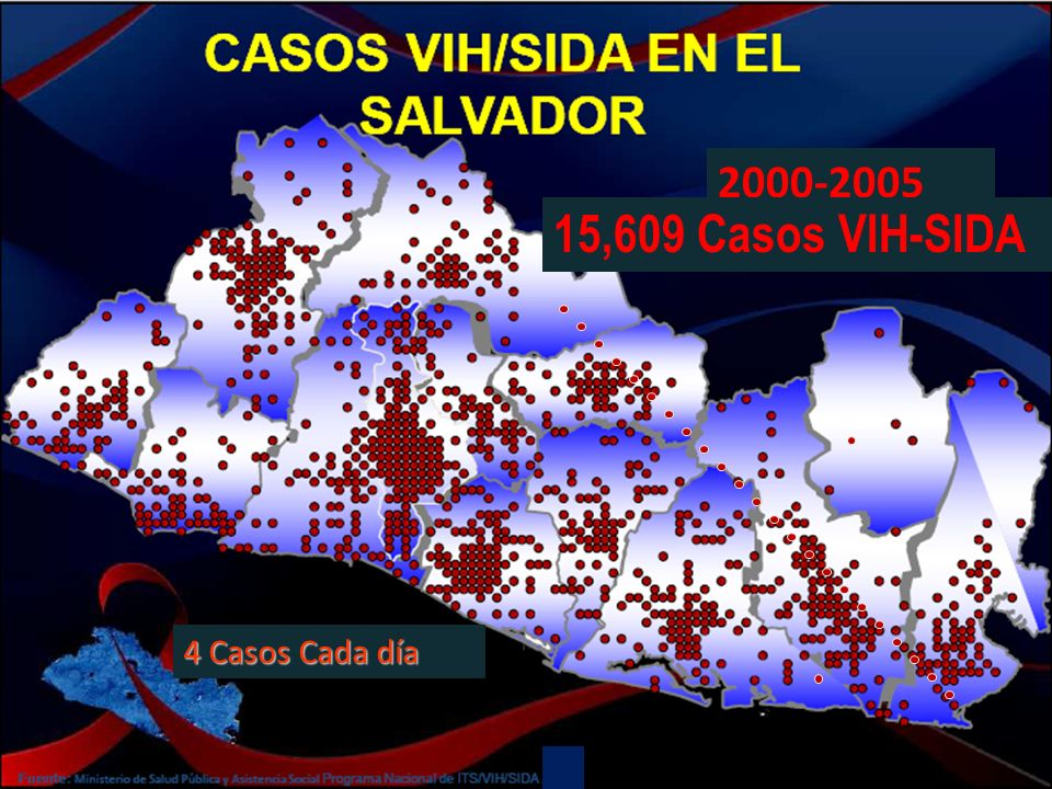 2000-2005 (JULIO) 15,609 Casos VIH-SIDA 4 Casos Cada día