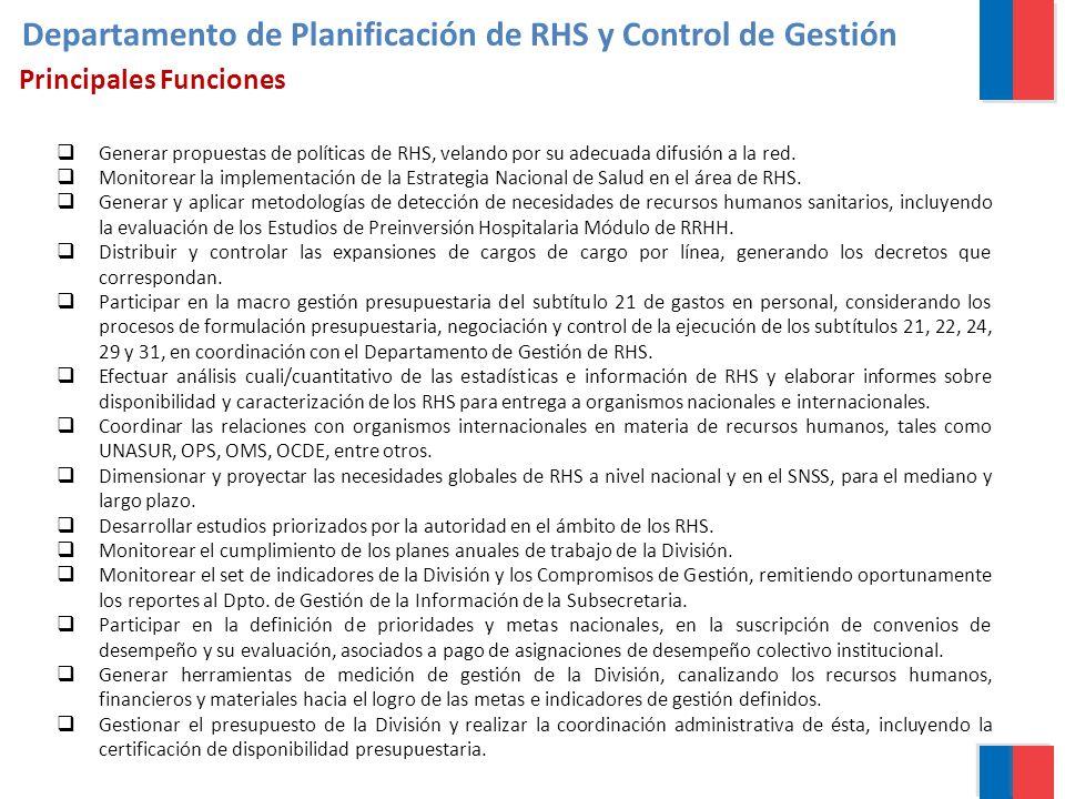 Generar propuestas de políticas de RHS, velando por su adecuada difusión a la red. Monitorear la implementación de la Estrategia Nacional de Salud en