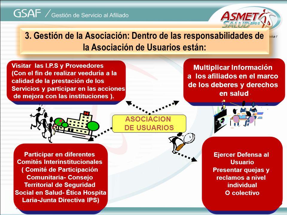 ASOCIACION DE USUARIOS ASOCIACION DE USUARIOS Multiplicar Información a los afiliados en el marco de los deberes y derechos en salud Visitar las I.P.S