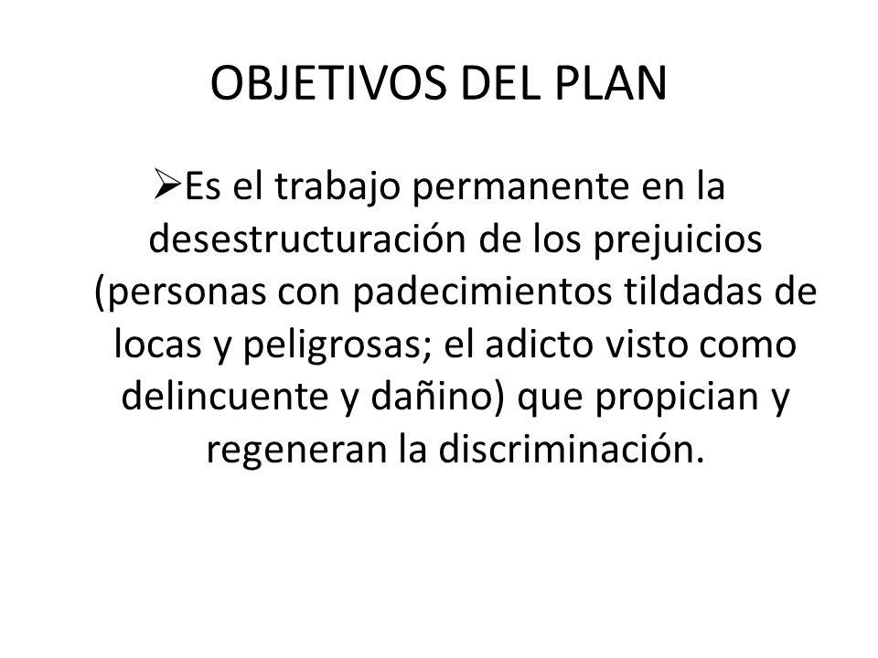 OBJETIVOS DEL PLAN Es el trabajo permanente en la desestructuración de los prejuicios (personas con padecimientos tildadas de locas y peligrosas; el a