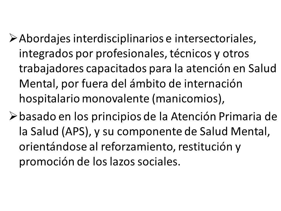 Abordajes interdisciplinarios e intersectoriales, integrados por profesionales, técnicos y otros trabajadores capacitados para la atención en Salud Me