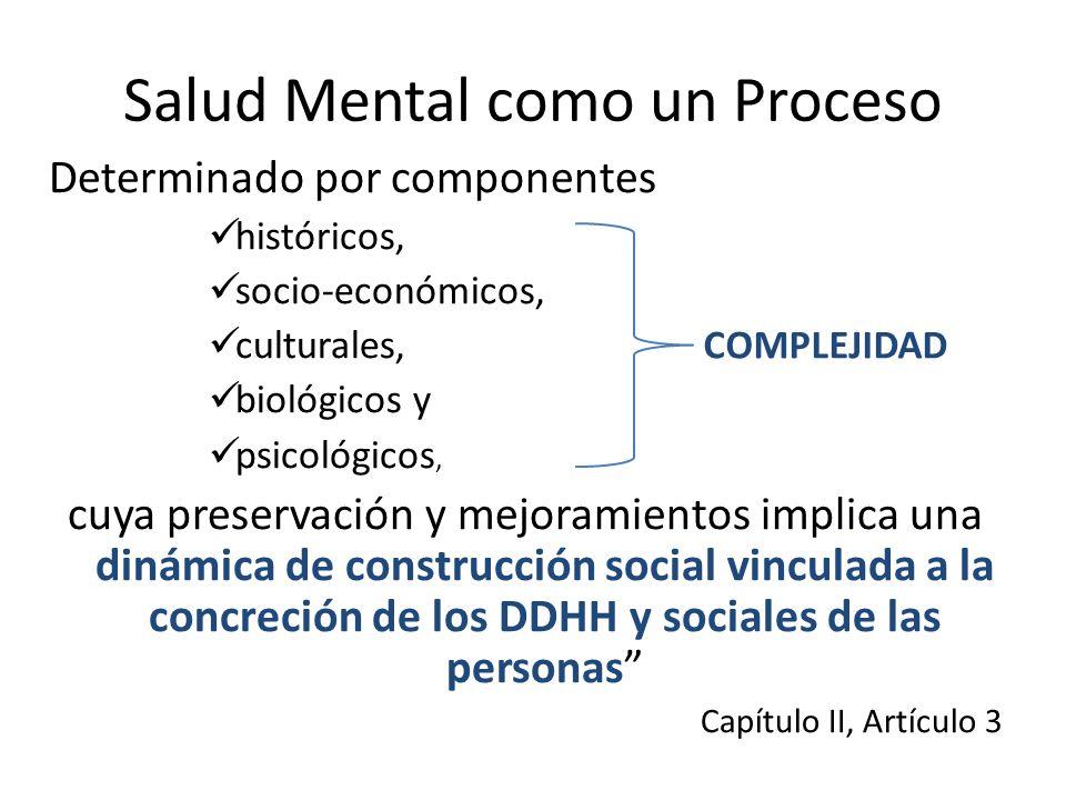 Salud Mental como un Proceso Determinado por componentes históricos, socio-económicos, culturales, biológicos y psicológicos, cuya preservación y mejo