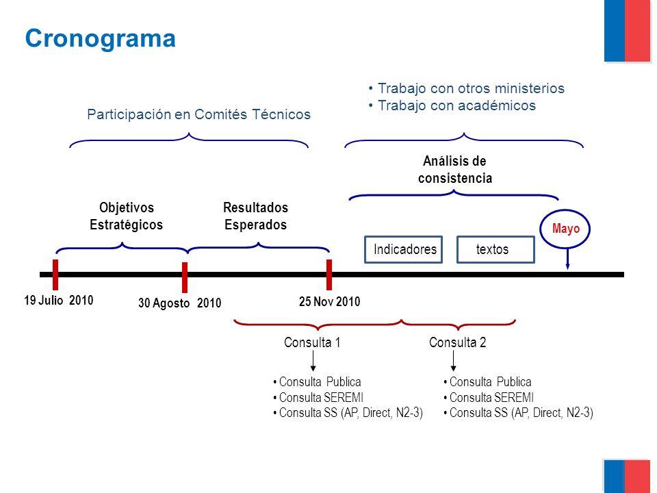 Gobierno de Chile   Ministerio del Interior Enfermedades Transmisibles (OE 1) Enfermedades no Transmisibles (OE 2) Ciclo Vital (OE 4) Factores de Riesgo (OE 3) Ambiente/ Alimentos (OE 6) Determinantes Sociales/ inequidad (OE 5) Fortalecer el Sector (OE 7) Preparación para Emergencias y Desastres (OE 9) Acceso, Calidad, Satisfacción (OE 8) Objetivos Sanitarios