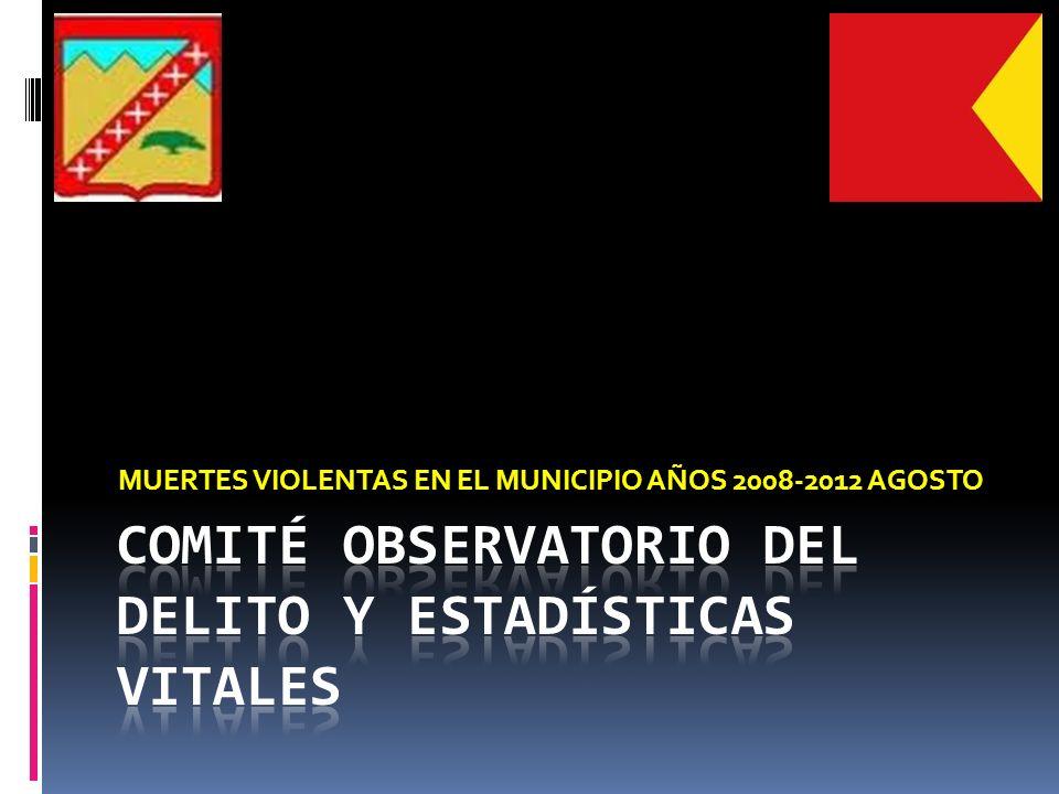 MUERTES VIOLENTAS EN EL MUNICIPIO AÑOS 2008-2012 AGOSTO