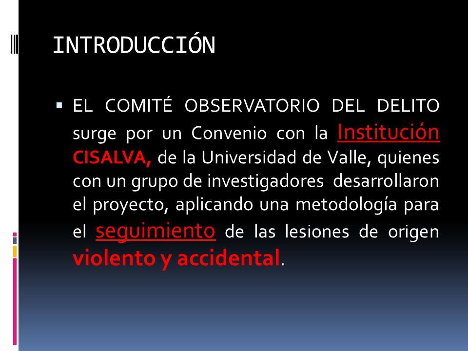 INTRODUCCIÓN EL COMITÉ OBSERVATORIO DEL DELITO surge por un Convenio con la Institución CISALVA, de la Universidad de Valle, quienes con un grupo de i