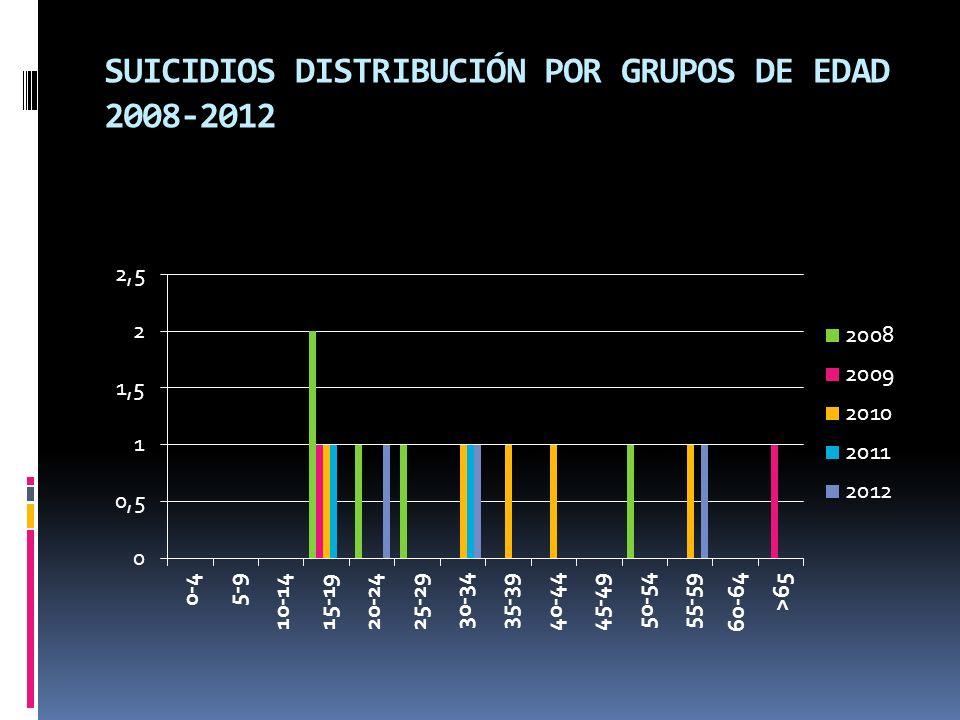 SUICIDIOS DISTRIBUCIÓN POR GRUPOS DE EDAD 2008-2012