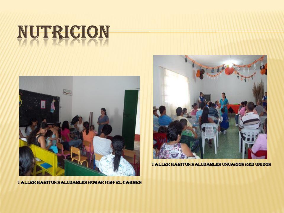TALLER HABITOS SALUDABLES HOGAR ICBF EL CARMEN TALLER HABITOS SALUDABLES USUARIOS RED UNIDOS