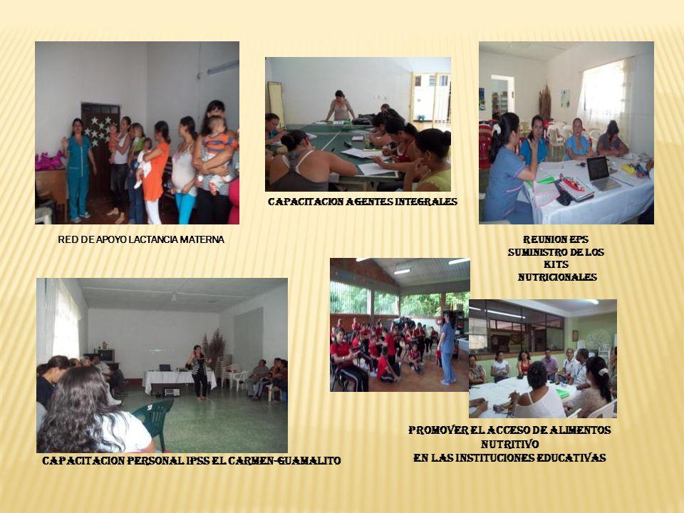 CAPACITACION AGENTES INTEGRALES PROMOVER EL ACCESO DE ALIMENTOS NUTRITIVO EN LAS INSTITUCIONES EDUCATIVAS RED DE APOYO LACTANCIA MATERNA REUNION EPS SUMINISTRO DE LOS KITS NUTRICIONALES CAPACITACION PERSONAL IPSs EL CARMEN-GUAMALITO