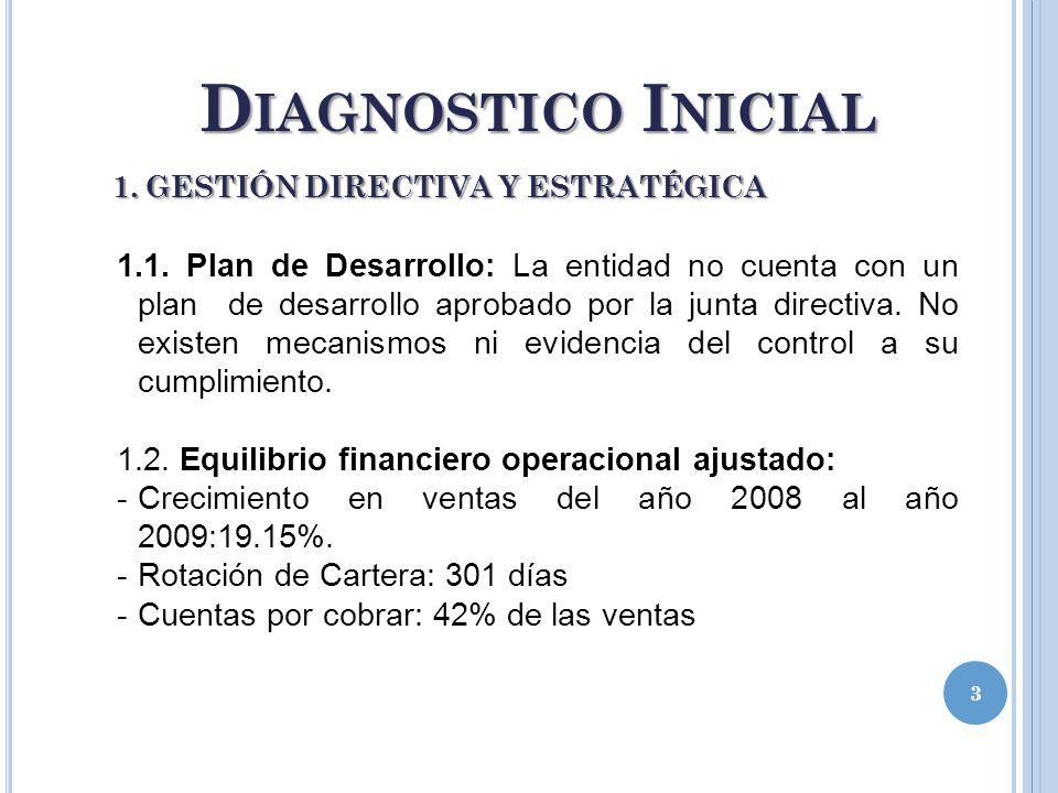 D IAGNOSTICO I NICIAL 3 1. GESTIÓN DIRECTIVA Y ESTRATÉGICA 1.1. Plan de Desarrollo: La entidad no cuenta con un plan de desarrollo aprobado por la jun