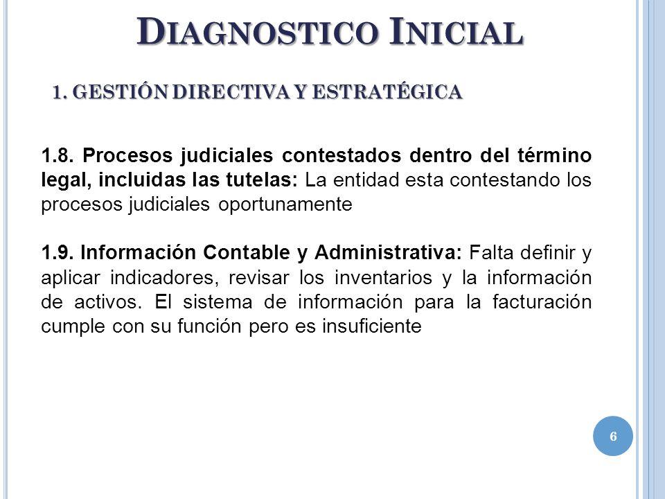 6 D IAGNOSTICO I NICIAL 1. GESTIÓN DIRECTIVA Y ESTRATÉGICA 1.8. Procesos judiciales contestados dentro del término legal, incluidas las tutelas: La en