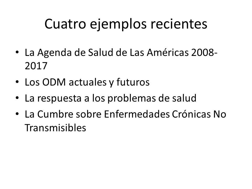 Cuatro ejemplos recientes La Agenda de Salud de Las Américas 2008- 2017 Los ODM actuales y futuros La respuesta a los problemas de salud La Cumbre sobre Enfermedades Crónicas No Transmisibles