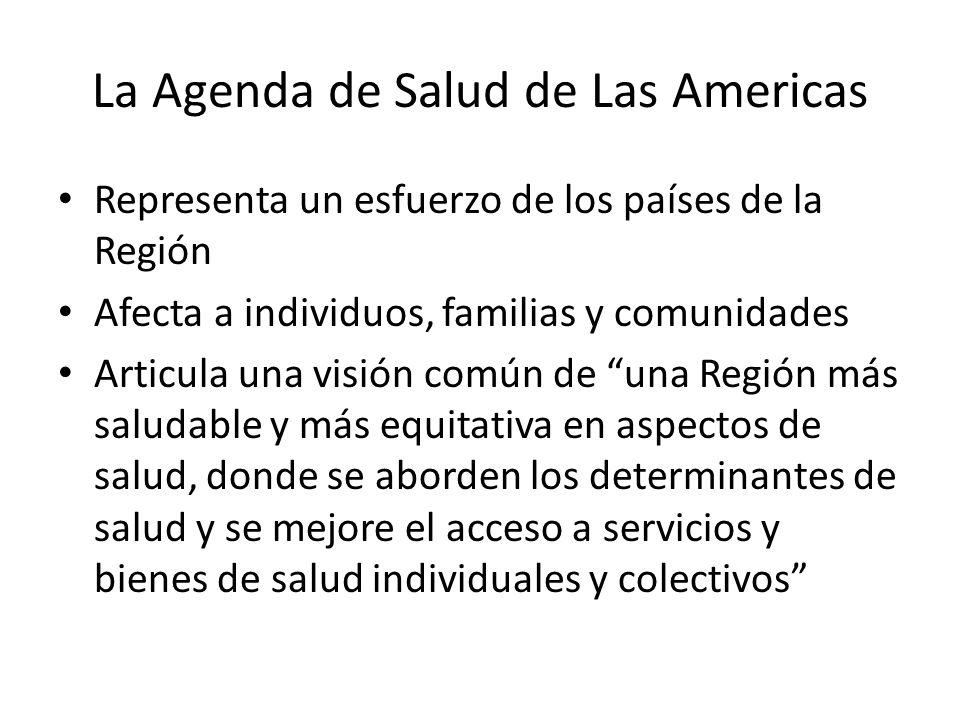 La Agenda de Salud de Las Americas Representa un esfuerzo de los países de la Región Afecta a individuos, familias y comunidades Articula una visión común de una Región más saludable y más equitativa en aspectos de salud, donde se aborden los determinantes de salud y se mejore el acceso a servicios y bienes de salud individuales y colectivos