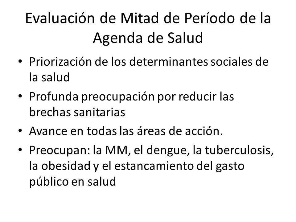 Evaluación de Mitad de Período de la Agenda de Salud Priorización de los determinantes sociales de la salud Profunda preocupación por reducir las brechas sanitarias Avance en todas las áreas de acción.