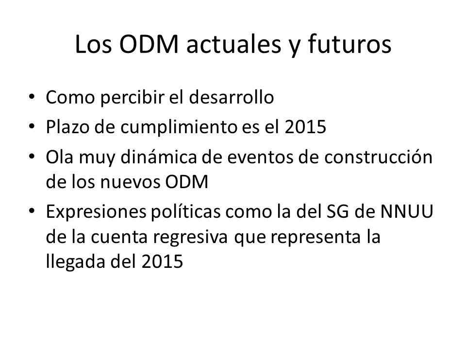 Los ODM actuales y futuros Como percibir el desarrollo Plazo de cumplimiento es el 2015 Ola muy dinámica de eventos de construcción de los nuevos ODM Expresiones políticas como la del SG de NNUU de la cuenta regresiva que representa la llegada del 2015