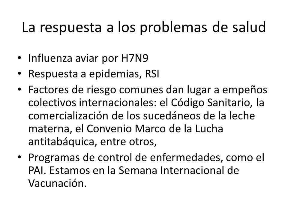 La respuesta a los problemas de salud Influenza aviar por H7N9 Respuesta a epidemias, RSI Factores de riesgo comunes dan lugar a empeños colectivos internacionales: el Código Sanitario, la comercialización de los sucedáneos de la leche materna, el Convenio Marco de la Lucha antitabáquica, entre otros, Programas de control de enfermedades, como el PAI.
