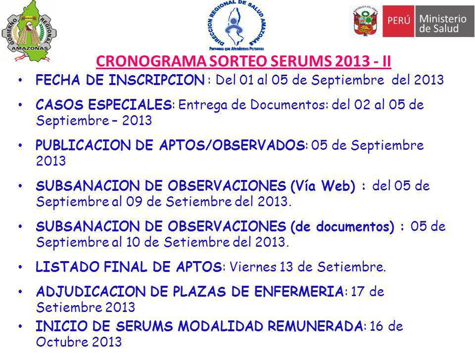 CRONOGRAMA SORTEO SERUMS 2013 - II FECHA DE INSCRIPCION : Del 01 al 05 de Septiembre del 2013 CASOS ESPECIALES: Entrega de Documentos: del 02 al 05 de