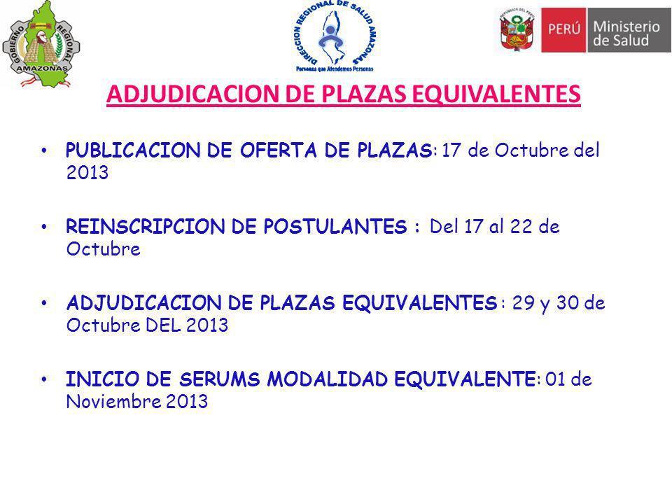 ADJUDICACION DE PLAZAS EQUIVALENTES PUBLICACION DE OFERTA DE PLAZAS: 17 de Octubre del 2013 REINSCRIPCION DE POSTULANTES : Del 17 al 22 de Octubre ADJ