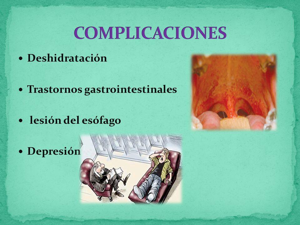 Deshidratación Trastornos gastrointestinales lesión del esófago Depresión