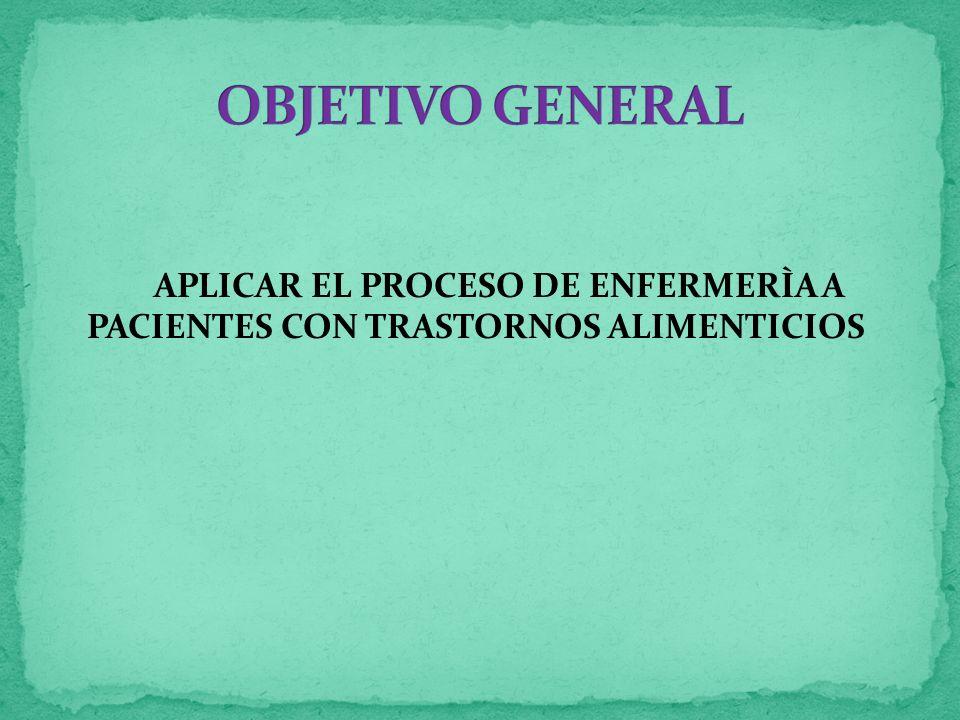 APLICAR EL PROCESO DE ENFERMERÌA A PACIENTES CON TRASTORNOS ALIMENTICIOS