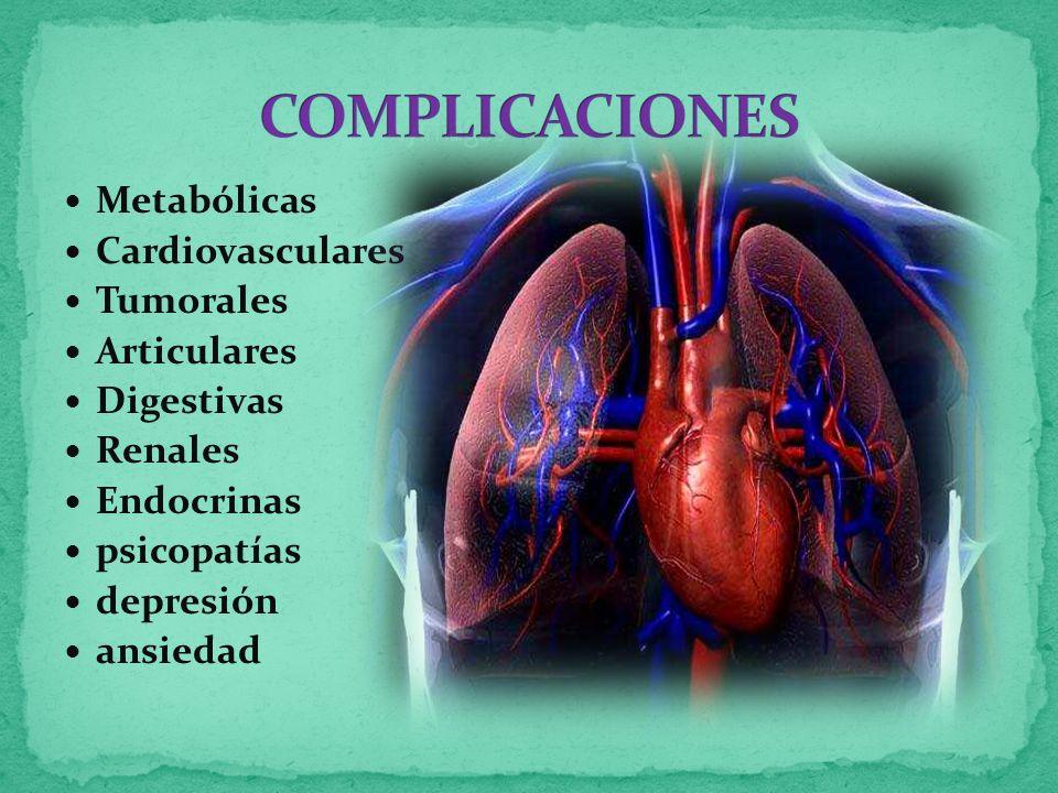 Metabólicas Cardiovasculares Tumorales Articulares Digestivas Renales Endocrinas psicopatías depresión ansiedad