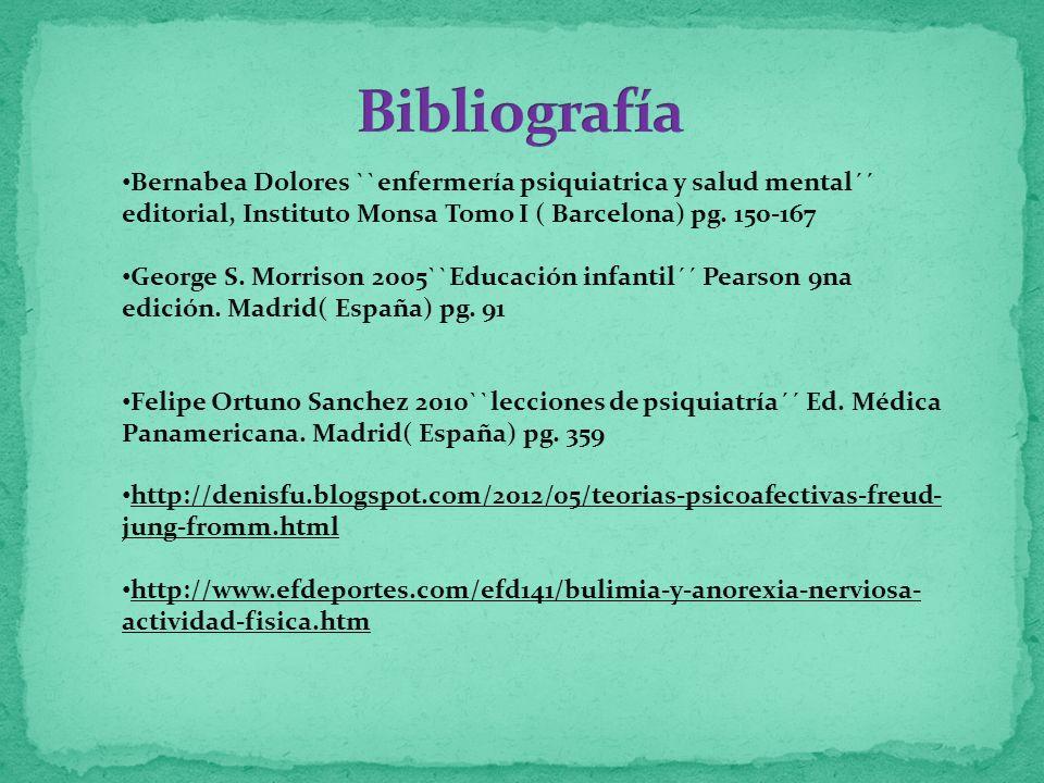 Bernabea Dolores ``enfermería psiquiatrica y salud mental´´ editorial, Instituto Monsa Tomo I ( Barcelona) pg. 150-167 George S. Morrison 2005``Educac