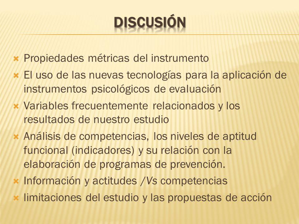 Propiedades métricas del instrumento El uso de las nuevas tecnologías para la aplicación de instrumentos psicológicos de evaluación Variables frecuent