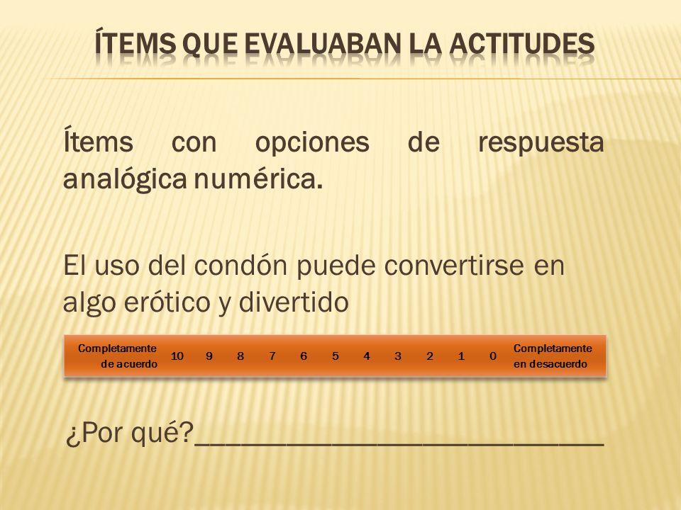 Ítems con opciones de respuesta analógica numérica. El uso del condón puede convertirse en algo erótico y divertido ¿Por qué?_________________________