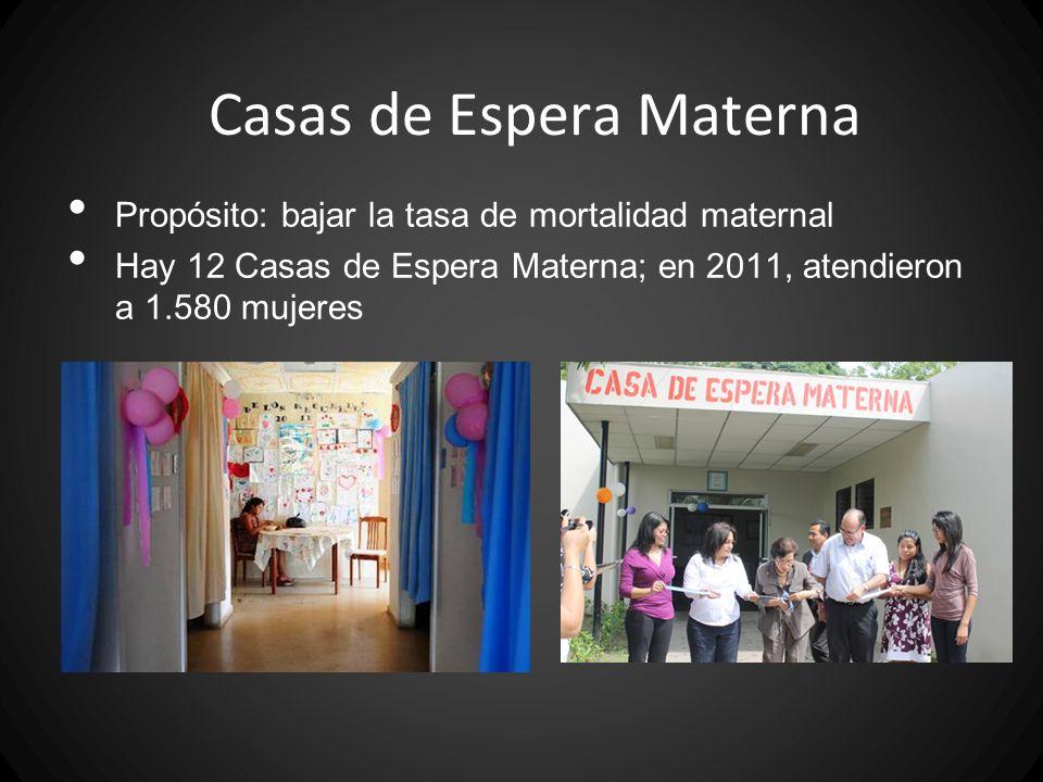 Casas de Espera Materna Propósito: bajar la tasa de mortalidad maternal Hay 12 Casas de Espera Materna; en 2011, atendieron a 1.580 mujeres
