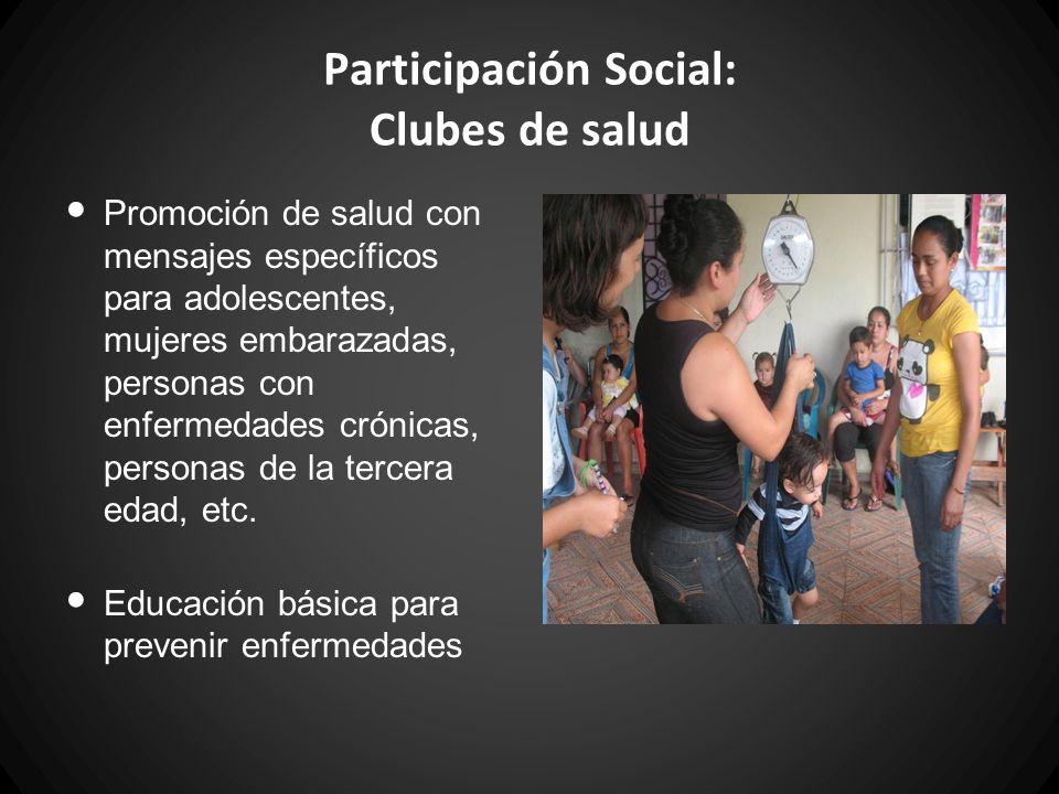 Participación Social: Clubes de salud Promoción de salud con mensajes específicos para adolescentes, mujeres embarazadas, personas con enfermedades cr