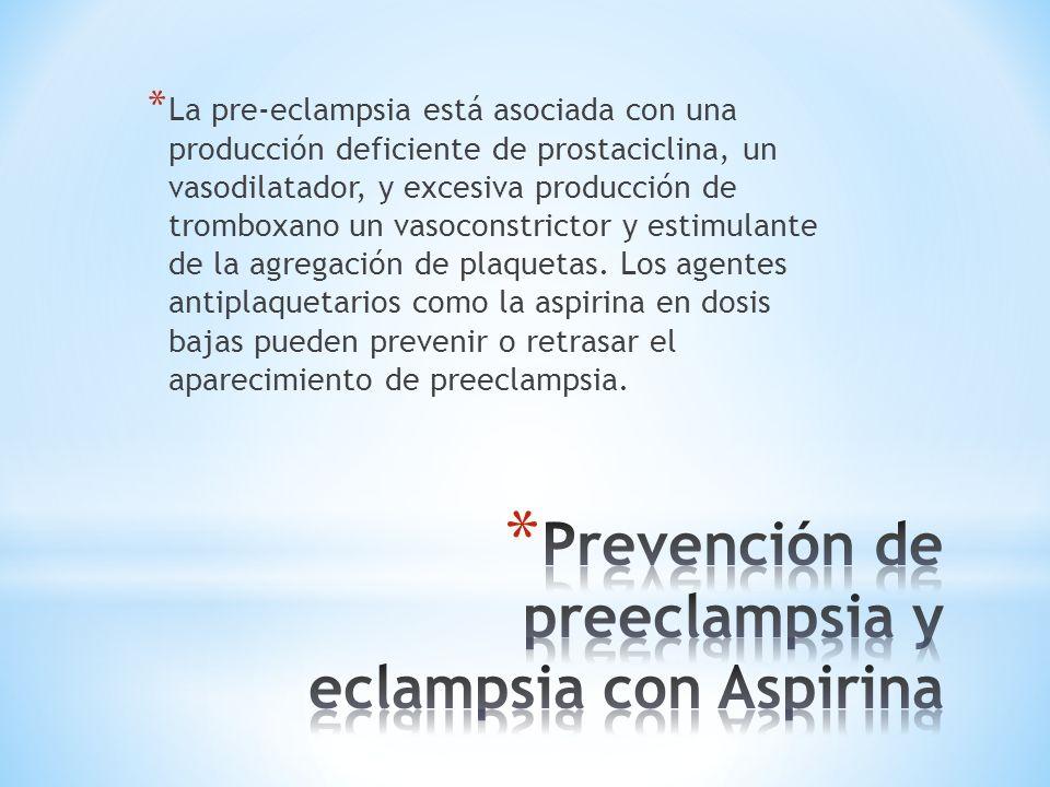 * La pre-eclampsia está asociada con una producción deficiente de prostaciclina, un vasodilatador, y excesiva producción de tromboxano un vasoconstrictor y estimulante de la agregación de plaquetas.