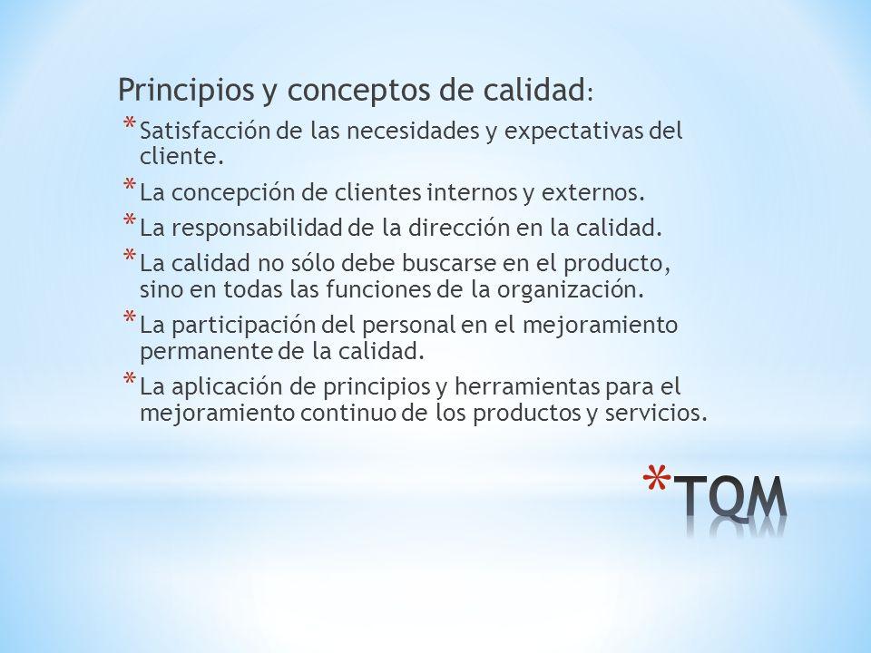 Principios y conceptos de calidad : * Satisfacción de las necesidades y expectativas del cliente.