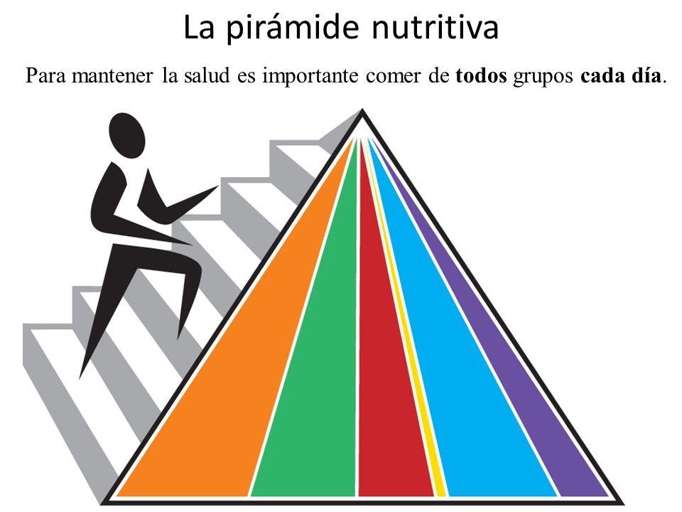 La pirámide nutritiva Para mantener la salud es importante comer de todos grupos cada día.