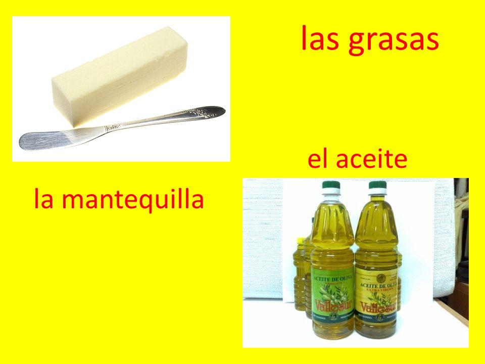 las grasas la mantequilla el aceite